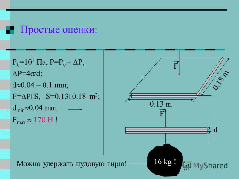 Простые оценки: P 0 =10 5 Пa, P=P 0 – P, P=4 /d; d 0.04 – 0.1 mm; F= P S, S=0.13 m 2 ; d min 0.04 mm F max 170 Н ! F 0.13 m 0.18 m 16 kg ! F Можно удержать пудовую гирю! d