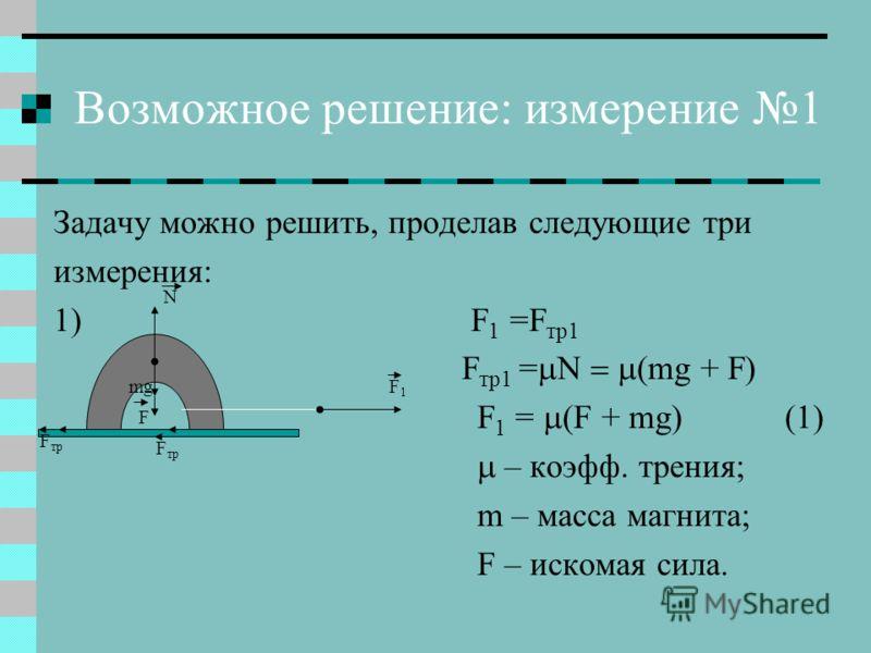 Возможное решение: измерение 1 Задачу можно решить, проделав следующие три измерения: 1) F 1 =F тр1 F тр1 = (mg + F) F 1 = (F + mg) (1) – коэфф. трения; m – масса магнита; F – искомая сила. F тр F1F1 mg F N