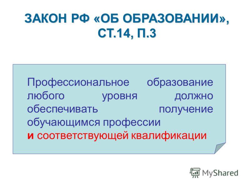 ЗАКОН РФ «ОБ ОБРАЗОВАНИИ», СТ.14, П.3 Профессиональное образование любого уровня должно обеспечивать получение обучающимся профессии и соответствующей квалификации