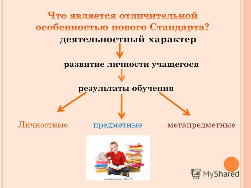 деятельностный характер развитие личности учащегося результаты обучения Личностные предметные метапредметные