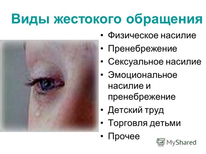 Виды жестокого обращения Физическое насилие Пренебрежение Сексуальное насилие Эмоциональное насилие и пренебрежение Детский труд Торговля детьми Прочее