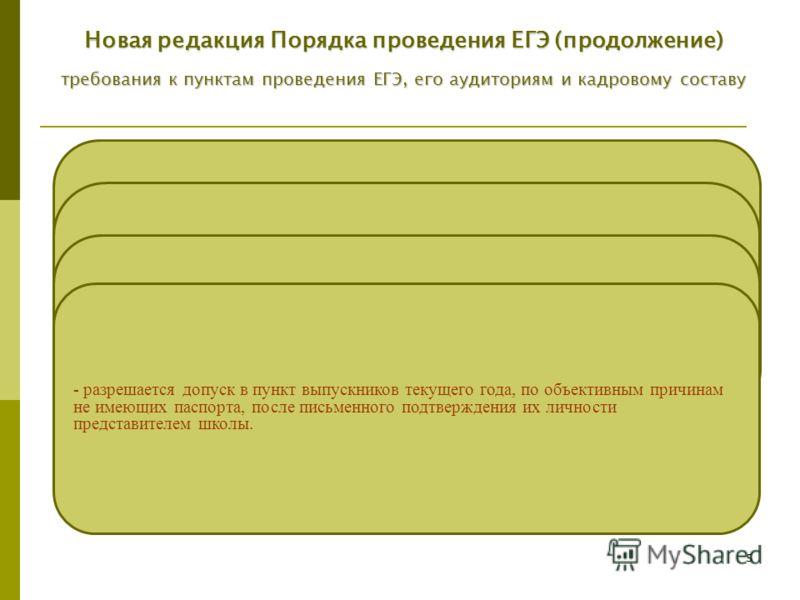 5 - в пунктах должно быть не менее 15 участников ЕГЭ, однако при отсутствии возможности организации пункта в соответствии с этим требованием орган исполнительной власти субъекта Российской Федерации предусматривает дополнительные меры информационной