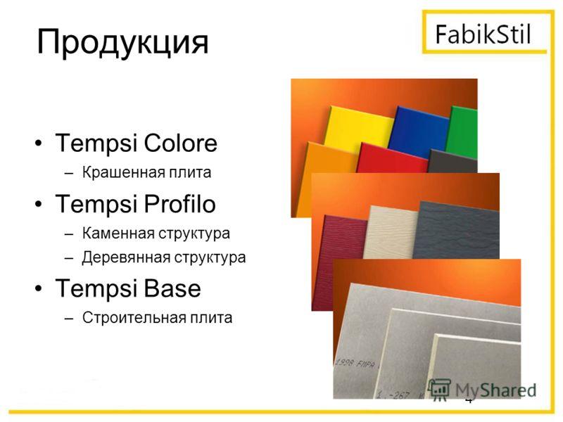 4 Продукция Tempsi Colore –Крашенная плита Tempsi Profilo –Каменная структура –Деревянная структура Tempsi Base –Строительная плита