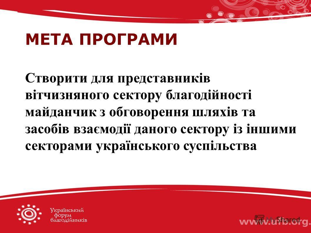 МЕТА ПРОГРАМИ Створити для представників вітчизняного сектору благодійності майданчик з обговорення шляхів та засобів взаємодії даного сектору із іншими секторами українського суспільства