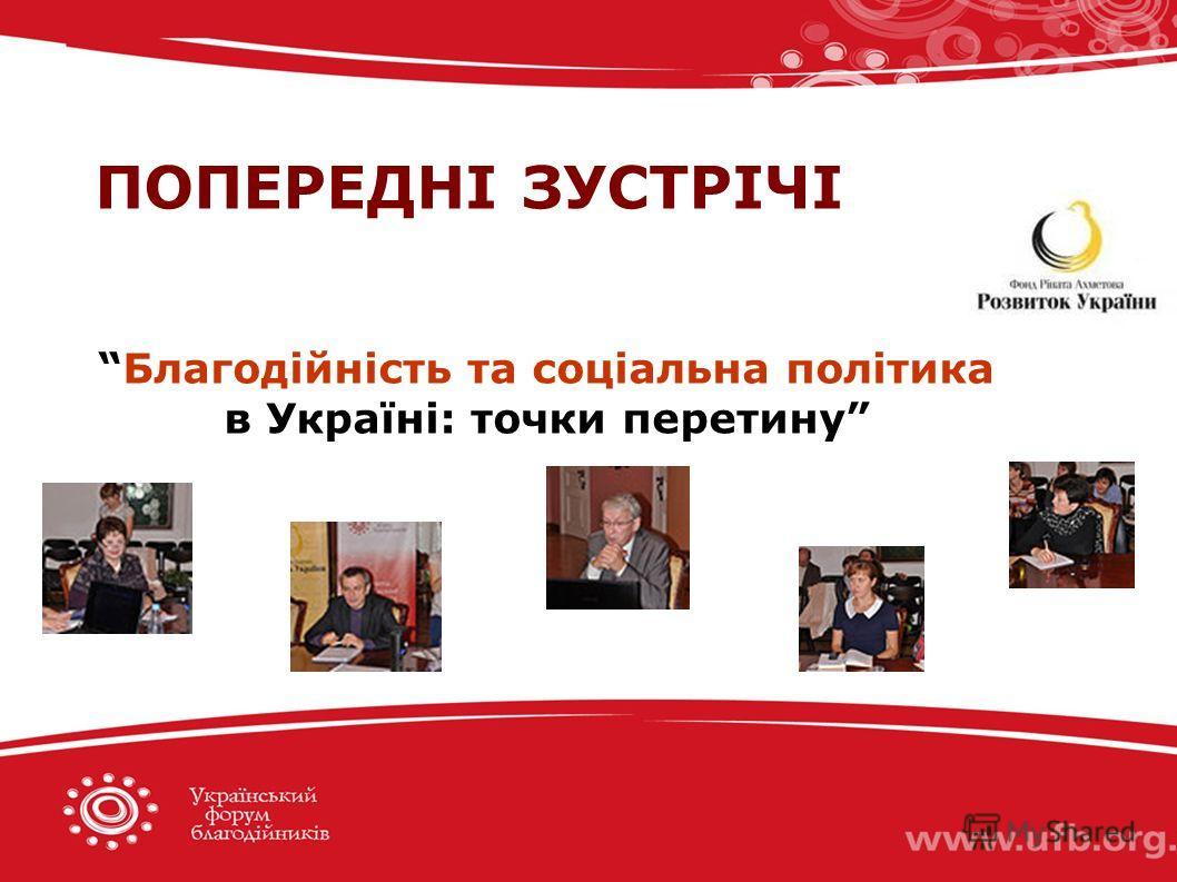 ПОПЕРЕДНІ ЗУСТРІЧІ Благодійність та соціальна політика в Україні: точки перетину