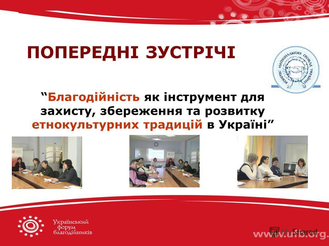 ПОПЕРЕДНІ ЗУСТРІЧІ Благодійність як інструмент для захисту, збереження та розвитку етнокультурних традицій в Україні