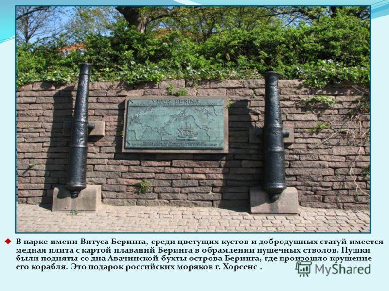 В парке имени Витуса Беринга, среди цветущих кустов и добродушных статуй имеется медная плита с картой плаваний Беринга в обрамлении пушечных стволов. Пушки были подняты со дна Авачинской бухты острова Беринга, где произошло крушение его корабля. Это