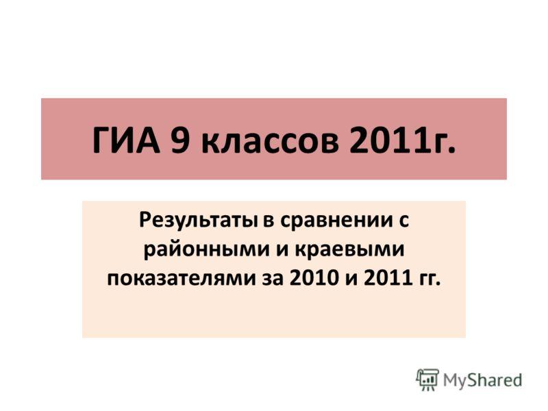 ГИА 9 классов 2011г. Результаты в сравнении с районными и краевыми показателями за 2010 и 2011 гг.