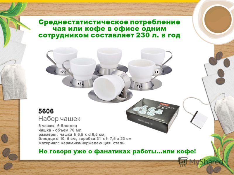5606 Набор чашек 6 чашек, 6 блюдец чашка - объем 70 мл размеры: чашка h 6,5 х d 6,5 см; блюдце d 10, 5 см; коробка 31 x h 7,5 x 23 см материал: керамика/нержавеющая сталь Среднестатистическое потребление чая или кофе в офисе одним сотрудником составл
