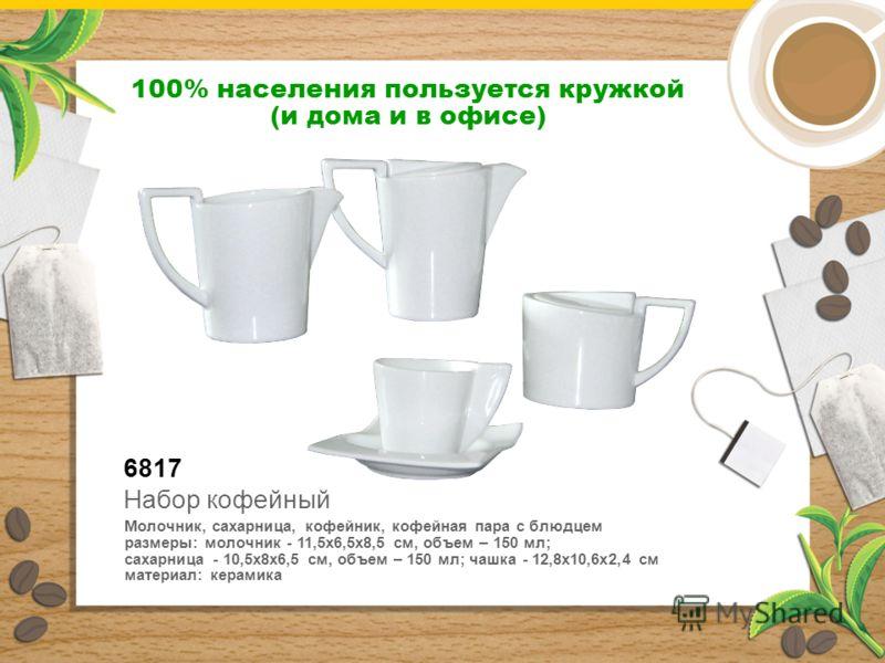 6817 Молочник, сахарница, кофейник, кофейная пара с блюдцем размеры: молочник - 11,5х6,5х8,5 см, объем – 150 мл; сахарница - 10,5х8х6,5 см, объем – 150 мл; чашка - 12,8х10,6х2,4 см материал: керамика Набор кофейный 100% населения пользуется кружкой (