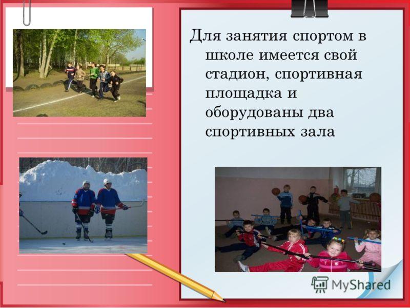 Для занятия спортом в школе имеется свой стадион, спортивная площадка и оборудованы два спортивных зала