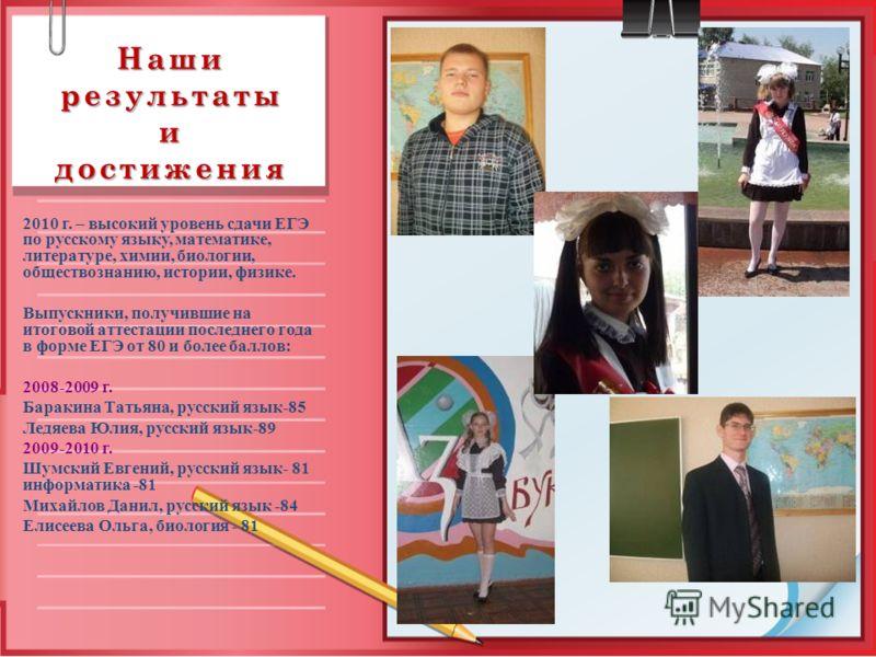 Наши результаты и достижения 2010 г. – высокий уровень сдачи ЕГЭ по русскому языку, математике, литературе, химии, биологии, обществознанию, истории, физике. Выпускники, получившие на итоговой аттестации последнего года в форме ЕГЭ от 80 и более балл