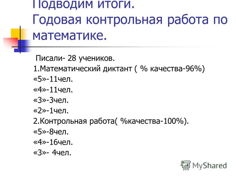Подводим итоги. Годовая контрольная работа по математике. Писали- 28 учеников. 1.Математический диктант ( % качества-96%) «5»-11чел. «4»-11чел. «3»-3чел. «2»-1чел. 2.Контрольная работа( %качества-100%). «5»-8чел. «4»-16чел. «3»- 4чел.