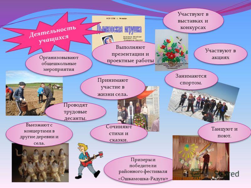 Участвуют в акциях Призеры и победители районного фестиваля «Ошкамошка-Радуга » Выполняют презентации и проектные работы Проводят трудовые десанты. Занимаются спортом. Выезжают с концертами в другие деревни и села. Танцуют и поют. Участвуют в выставк