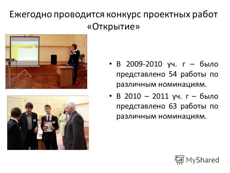 Ежегодно проводится конкурс проектных работ «Открытие» В 2009-2010 уч. г – было представлено 54 работы по различным номинациям. В 2010 – 2011 уч. г – было представлено 63 работы по различным номинациям.