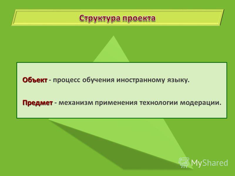 Объект Объект - процесс обучения иностранному языку. Предмет Предмет - механизм применения технологии модерации.