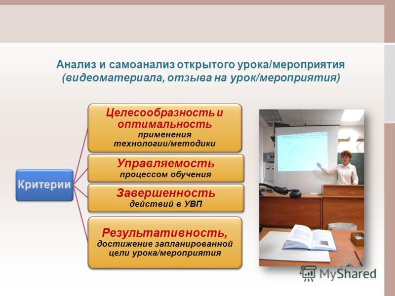 Анализ и самоанализ открытого урока/мероприятия (видеоматериала, отзыва на урок/мероприятия) Критерии Целесообразность и оптимальность применения технологии/методики Управляемость процессом обучения Завершенность действий в УВП Результативность, дост