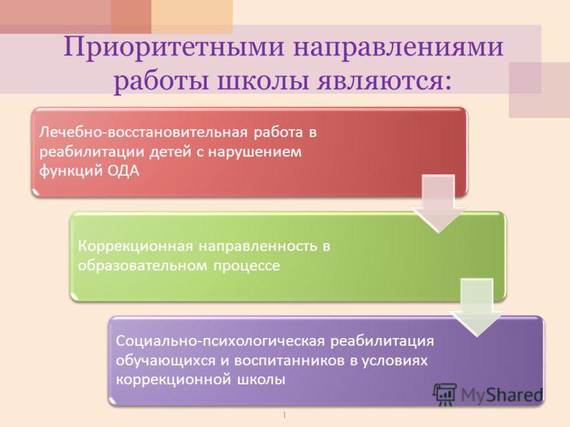 Приоритетными направлениями работы школы являются: Лечебно - восстановительная работа в реабилитации детей с нарушением функций ОДА Коррекционная направленность в образовательном процессе Социально - психологическая реабилитация обучающихся и воспита
