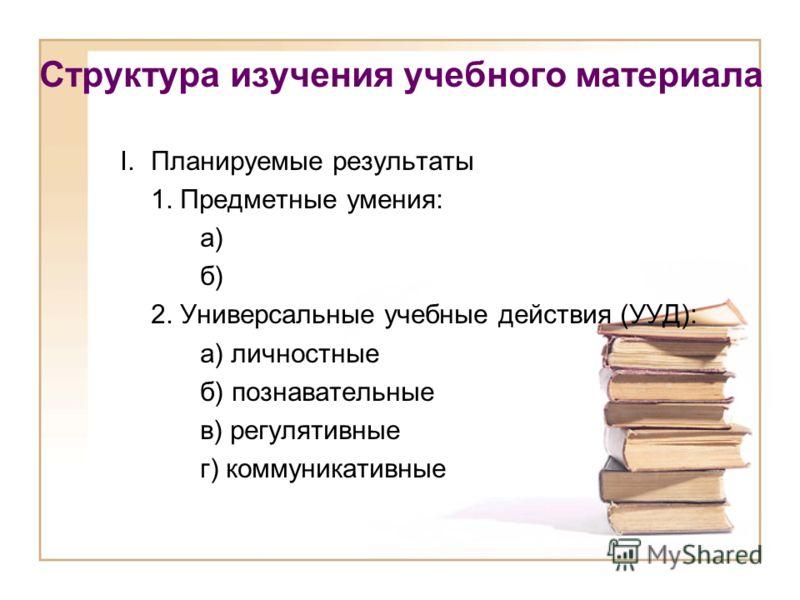 Структура изучения учебного материала I.Планируемые результаты 1. Предметные умения: а) б) 2. Универсальные учебные действия (УУД): а) личностные б) познавательные в) регулятивные г) коммуникативные
