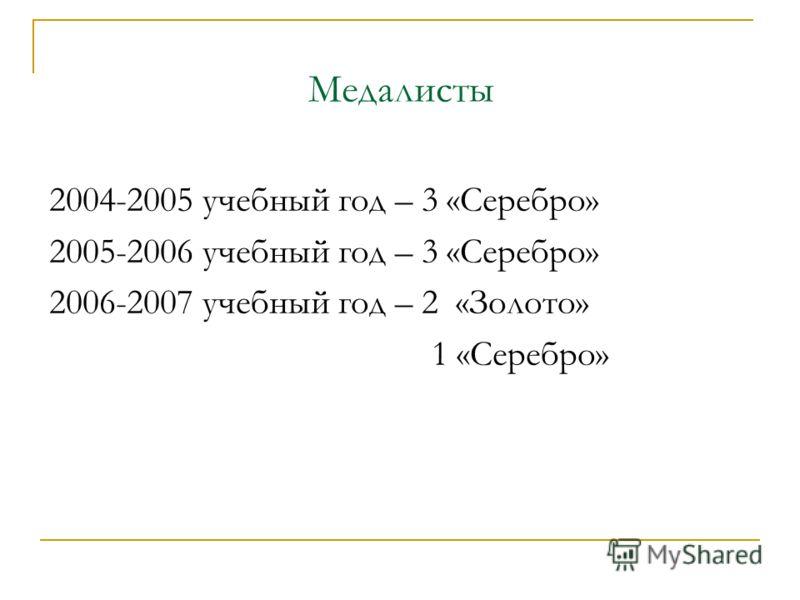 Медалисты 2004-2005 учебный год – 3 «Серебро» 2005-2006 учебный год – 3 «Серебро» 2006-2007 учебный год – 2 «Золото» 1 «Серебро»