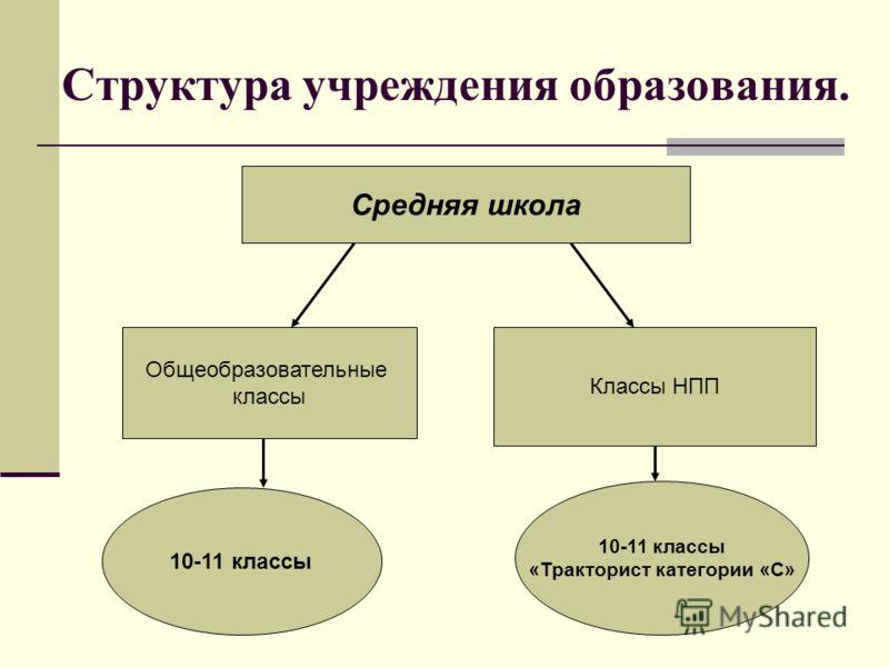 Структура учреждения образования. Средняя школа Общеобразовательные классы Классы НПП 10-11 классы «Тракторист категории «С»