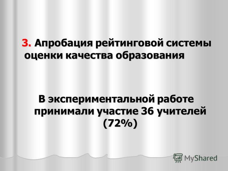 3. Апробация рейтинговой системы оценки качества образования 3. Апробация рейтинговой системы оценки качества образования В экспериментальной работе принимали участие 36 учителей (72%)