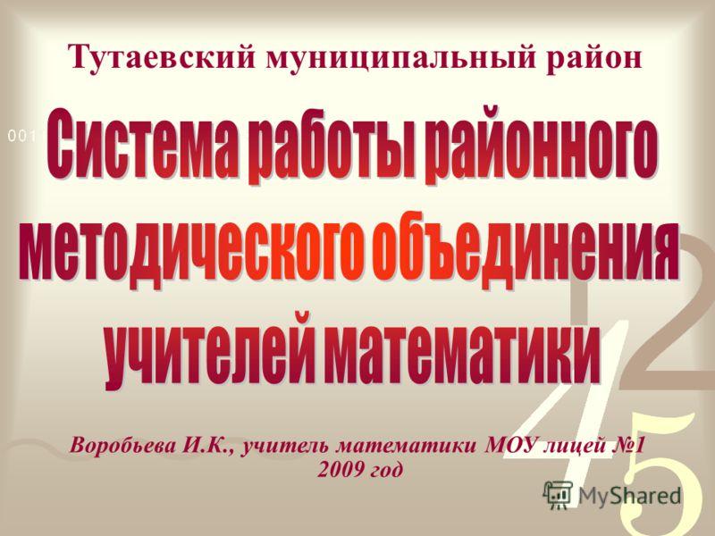Тутаевский муниципальный район Воробьева И.К., учитель математики МОУ лицей 1 2009 год
