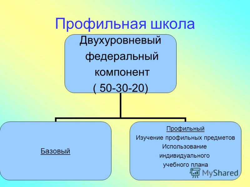 Профильная школа Двухуровневый федеральный компонент ( 50-30-20) Базовый Профильный Изучение профильных предметов Использование индивидуального учебного плана