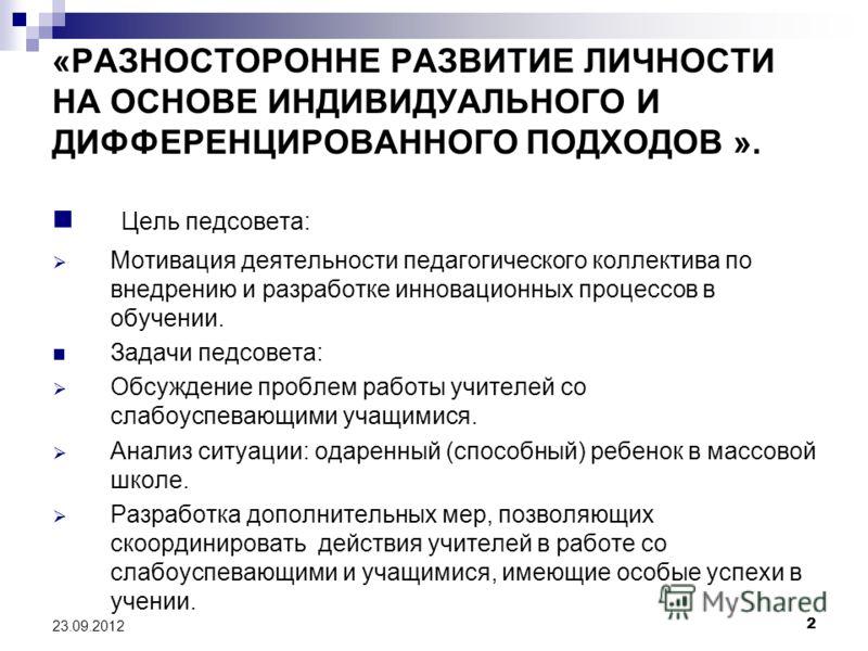 23.09.2012 1 ТЕМАТИЧЕСКИЙ ПЕДАГОГИЧЕСКИЙ СОВЕТ