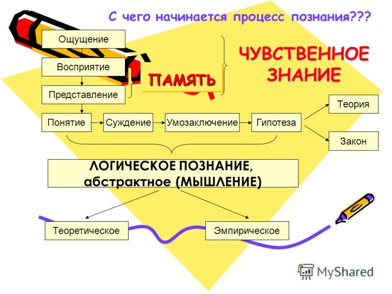 Ощущение Восприятие Представление Закон УмозаключениеПонятиеСуждениеГипотеза Теория ЭмпирическоеТеоретическое ЛОГИЧЕСКОЕ ПОЗНАНИЕ, абстрактное (МЫШЛЕНИЕ) ПАМЯТЬПАМЯТЬ ЧУВСТВЕННОЕ ЗНАНИЕ С чего начинается процесс познания???