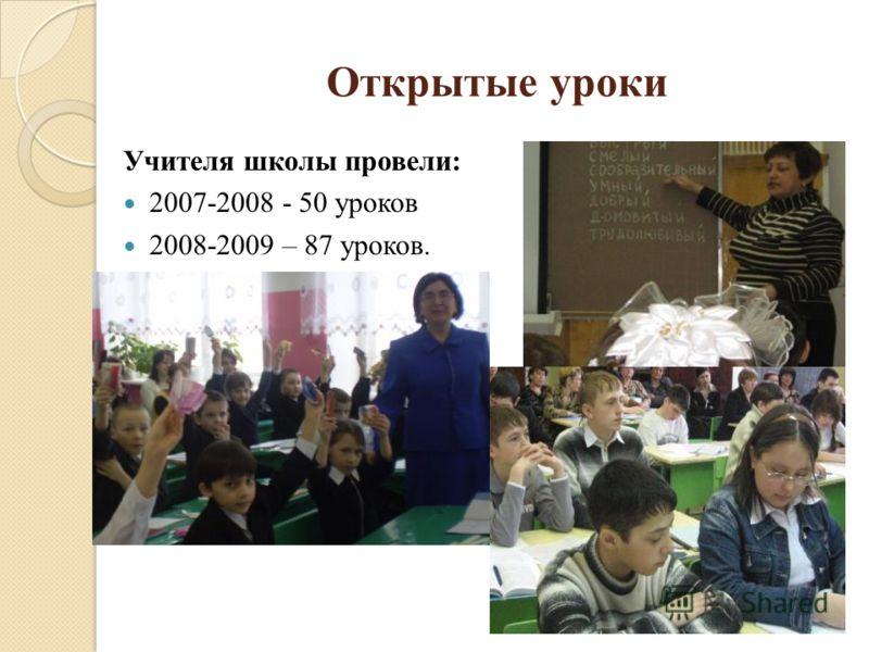 Открытые уроки Учителя школы провели: 2007-2008 - 50 уроков 2008-2009 – 87 уроков.
