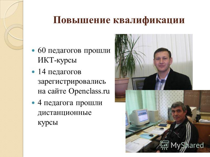 Повышение квалификации 60 педагогов прошли ИКТ-курсы 14 педагогов зарегистрировались на сайте Openclass.ru 4 педагога прошли дистанционные курсы