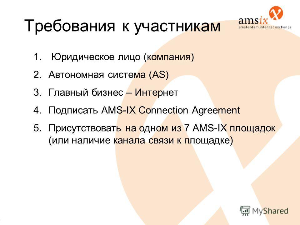 Требования к участникам 1. Юридическое лицо (компания) 2. Автономная система (AS) 3. Главный бизнес – Интернет 4. Подписать AMS-IX Connection Agreement 5. Присутствовать на одном из 7 AMS-IX площадок (или наличие канала связи к площадке)