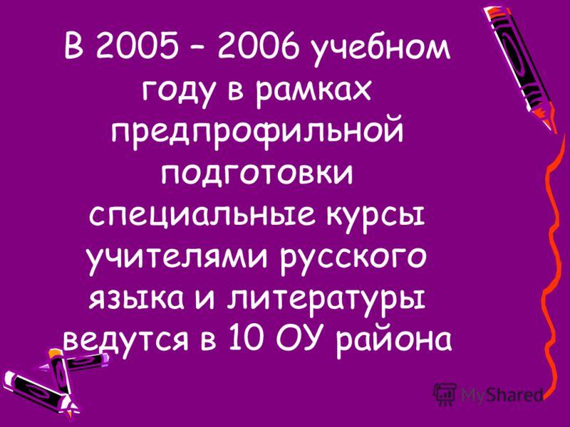 В 2005 – 2006 учебном году в рамках предпрофильной подготовки специальные курсы учителями русского языка и литературы ведутся в 10 ОУ района