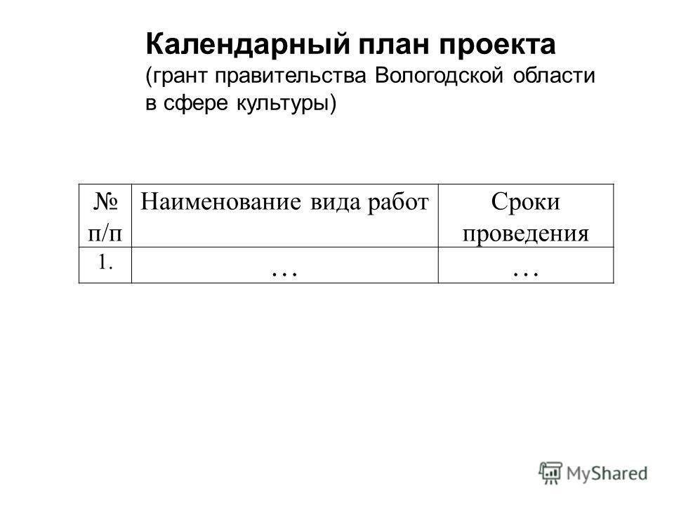 п/п Наименование вида работ Сроки проведения 1. …… Календарный план проекта (грант правительства Вологодской области в сфере культуры)