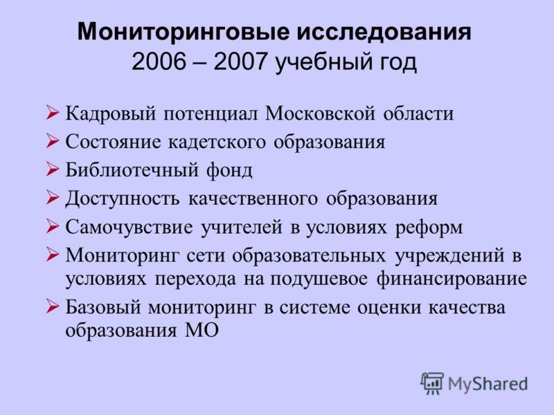 Мониторинговые исследования 2006 – 2007 учебный год Кадровый потенциал Московской области Состояние кадетского образования Библиотечный фонд Доступность качественного образования Самочувствие учителей в условиях реформ Мониторинг сети образовательных