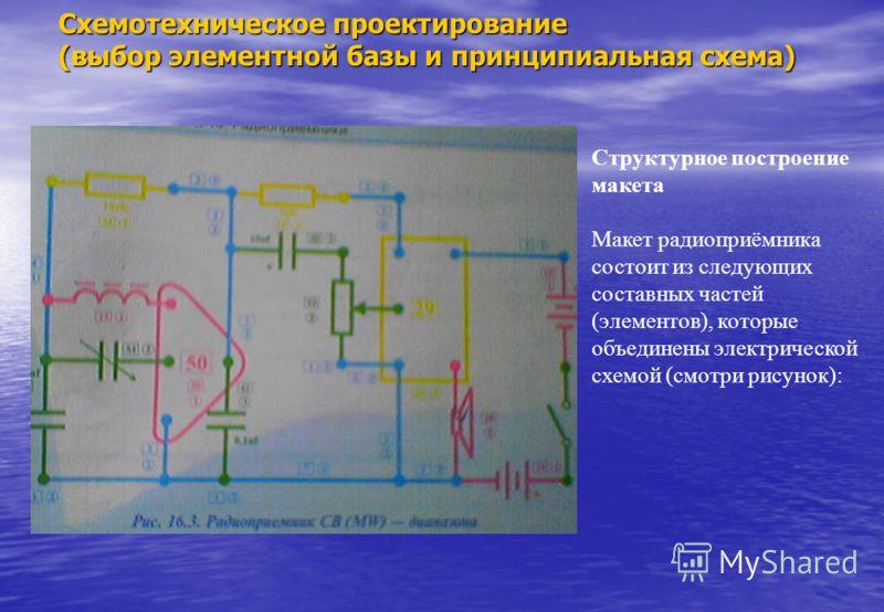 Структурное построение макета Макет радиоприёмника состоит из следующих составных частей (элементов), которые объединены электрической схемой (смотри рисунок): Схемотехническое проектирование (выбор элементной базы и принципиальная схема)