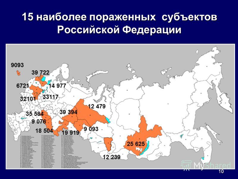 10 15 наиболее пораженных субъектов Российской Федерации 25 625 12 239 12 479 39 394 9 093 19 919 18 504 35 584 9 076 39 722 14 977 9093 6721 33117 32101