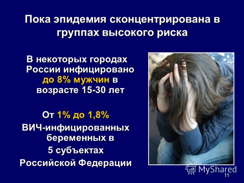 11 Пока эпидемия сконцентрирована в группах высокого риска В некоторых городах России инфицировано до 8% мужчин в возрасте 15-30 лет В некоторых городах России инфицировано до 8% мужчин в возрасте 15-30 лет От 1% до 1,8% ВИЧ-инфицированных беременных