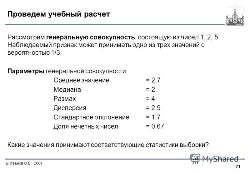 21 Иванов О.В., 2004 Проведем учебный расчет Рассмотрим генеральную совокупность, состоящую из чисел 1, 2, 5. Наблюдаемый признак может принимать одно из трех значений с вероятностью 1/3. Параметры генеральной совокупности: Среднее значение= 2,7 Меди
