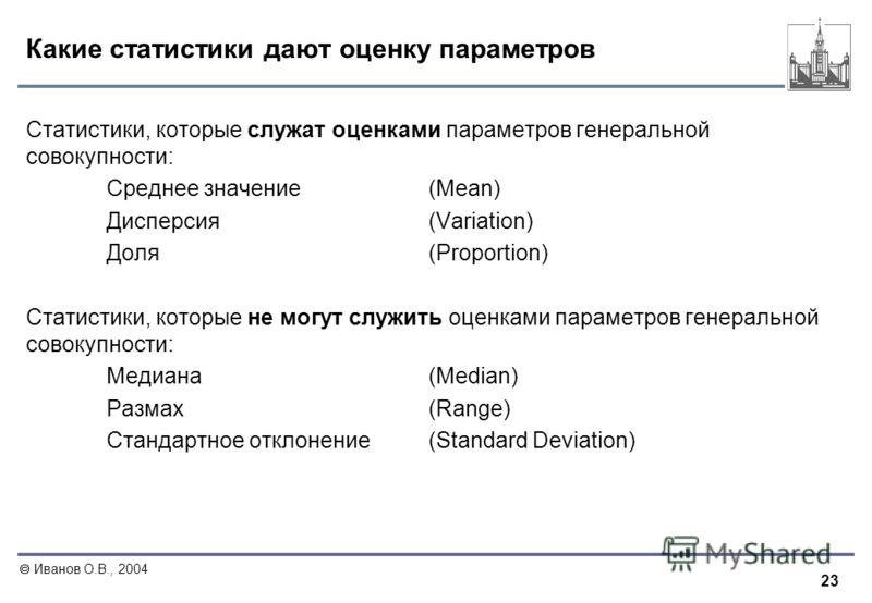 23 Иванов О.В., 2004 Какие статистики дают оценку параметров Статистики, которые служат оценками параметров генеральной совокупности: Среднее значение (Mean) Дисперсия(Variation) Доля(Proportion) Статистики, которые не могут служить оценками параметр
