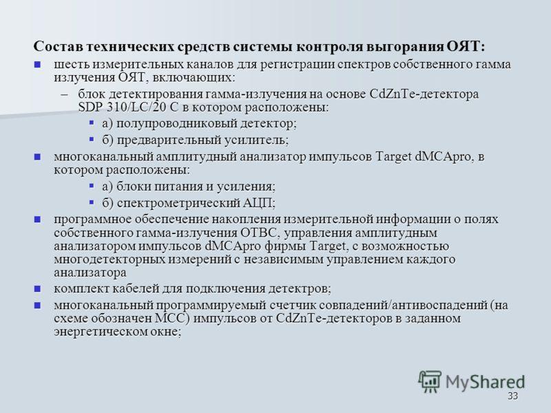 33 Состав технических средств системы контроля выгорания ОЯТ: шесть измерительных каналов для регистрации спектров собственного гамма излучения ОЯТ, включающих: шесть измерительных каналов для регистрации спектров собственного гамма излучения ОЯТ, вк