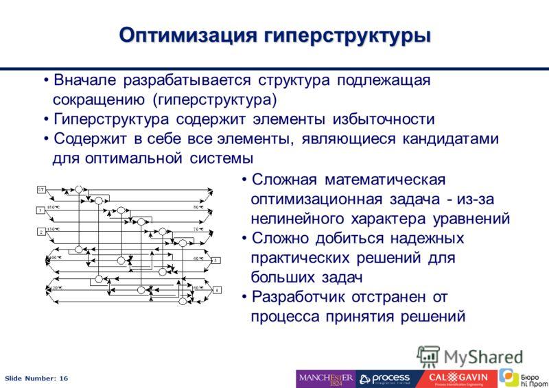 Slide Number: 16 Оптимизация гиперструктуры Вначале разрабатывается структура подлежащая сокращению (гиперструктура) Гиперструктура содержит элементы избыточности Содержит в себе все элементы, являющиеся кандидатами для оптимальной системы Сложная ма