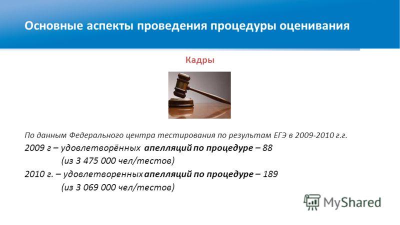 Кадры По данным Федерального центра тестирования по результам ЕГЭ в 2009-2010 г.г. 2009 г – удовлетворённых апелляций по процедуре – 88 (из 3 475 000 чел/тестов) 2010 г. – удовлетворенных апелляций по процедуре – 189 (из 3 069 000 чел/тестов) Основны