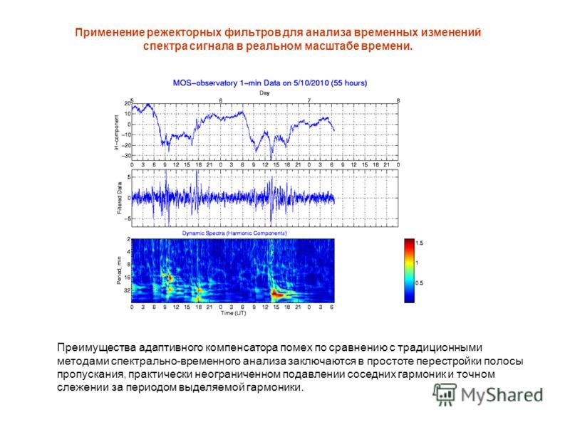 Применение режекторных фильтров для анализа временных изменений спектра сигнала в реальном масштабе времени. Преимущества адаптивного компенсатора помех по сравнению с традиционными методами спектрально-временного анализа заключаются в простоте перес