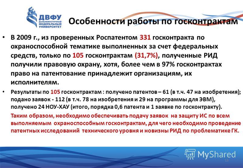 Особенности работы по госконтрактам В 2009 г., из проверенных Роспатентом 331 госконтракта по охраноспособной тематике выполненных за счет федеральных средств, только по 105 госконтрактам (31,7%), полученные РИД получили правовую охрану, хотя, более