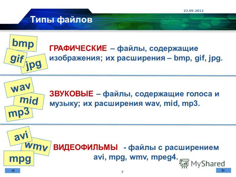 wmv mp3 jpg 23.09.2012 7 ГРАФИЧЕСКИЕ – файлы, содержащие изображения; их расширения – bmp, gif, jpg. ЗВУКОВЫЕ – файлы, содержащие голоса и музыку; их расширения wav, mid, mp3. ВИДЕОФИЛЬМЫ - файлы с расширением avi, mpg, wmv, mpeg4. Типы файлов bmp gi