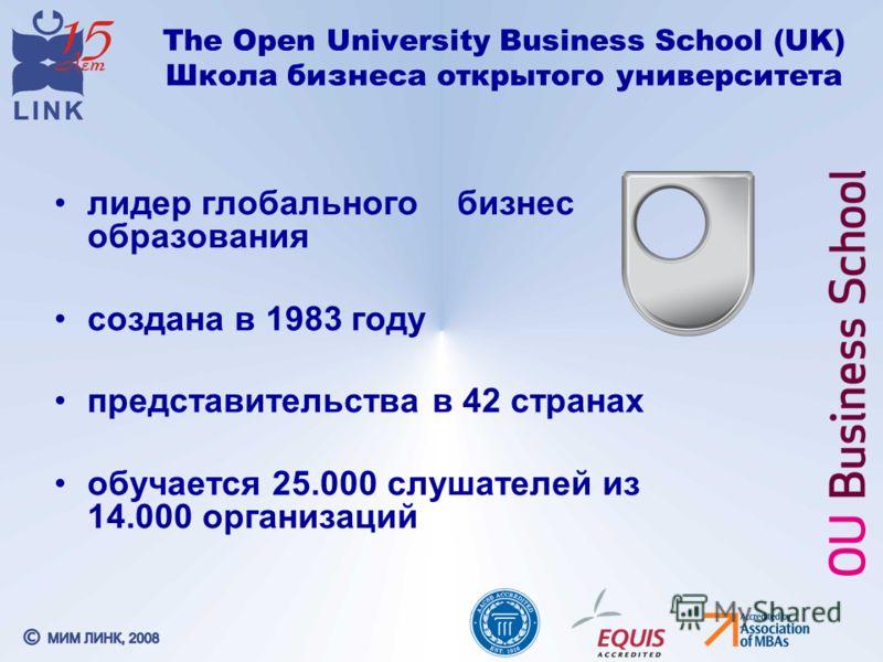 The Open University Business School (UK) Школа бизнеса открытого университета лидер глобального бизнес образования создана в 1983 году представительства в 42 странах обучается 25.000 слушателей из 14.000 организаций