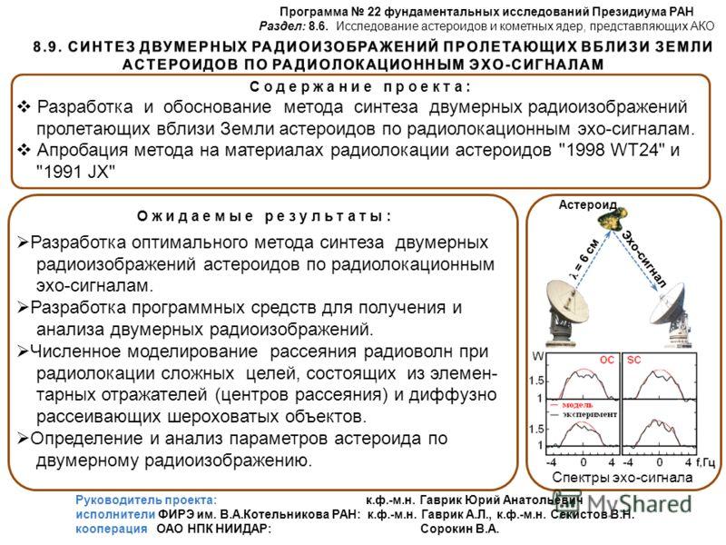 Программа 22 фундаментальных исследований Президиума РАН Раздел: 8.6. Исследование астероидов и кометных ядер, представляющих АКО О ж и д а е м ы е р е з у л ь т а т ы : Разработка оптимального метода синтеза двумерных радиоизображений астероидов по