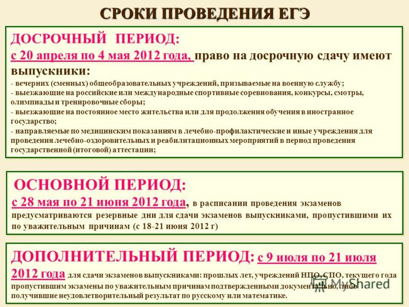 СРОКИ ПРОВЕДЕНИЯ ЕГЭ ОСНОВНОЙ ПЕРИОД: с 28 мая по 21 июня 2012 года, в расписании проведения экзаменов предусматриваются резервные дни для сдачи экзаменов выпускниками, пропустившими их по уважительным причинам (с 18-21 июня 2012 г) ОСНОВНОЙ ПЕРИОД: